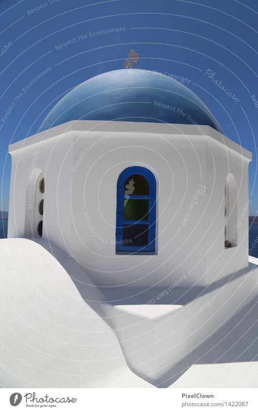 Santorin Reichtum ruhig Tourismus Kreuzfahrt Sommerurlaub Meer Insel Wolkenloser Himmel Hafenstadt Bauwerk Gebäude Architektur Fassade Sehenswürdigkeit