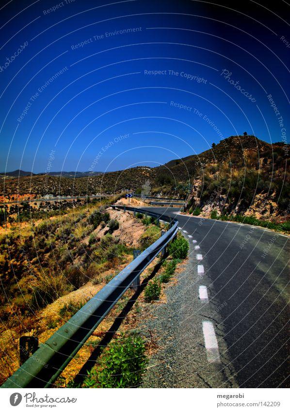 Landstraße nach Lorca Straße Berge u. Gebirge Verkehr Spanien Verkehrswege Am Rand HDR Berghang Leitplanke Serpentinen Festland