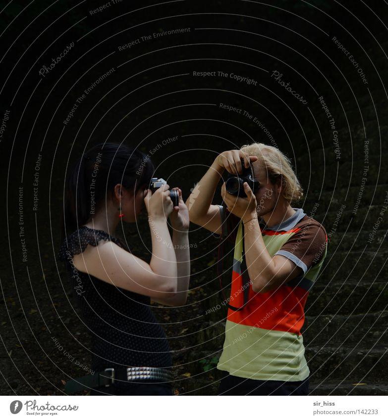 regardez-moi dans les yeux [Weimar 08] Freude Paar 2 klein paarweise Freizeit & Hobby analog Sportveranstaltung Fotograf erleuchten Fotografieren Treffer