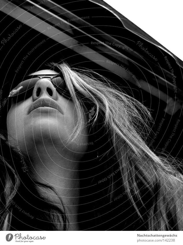 glasses. Haare & Frisuren Sonnenbrille Lippen Nase Balkon Sommer lässig Markise Frau