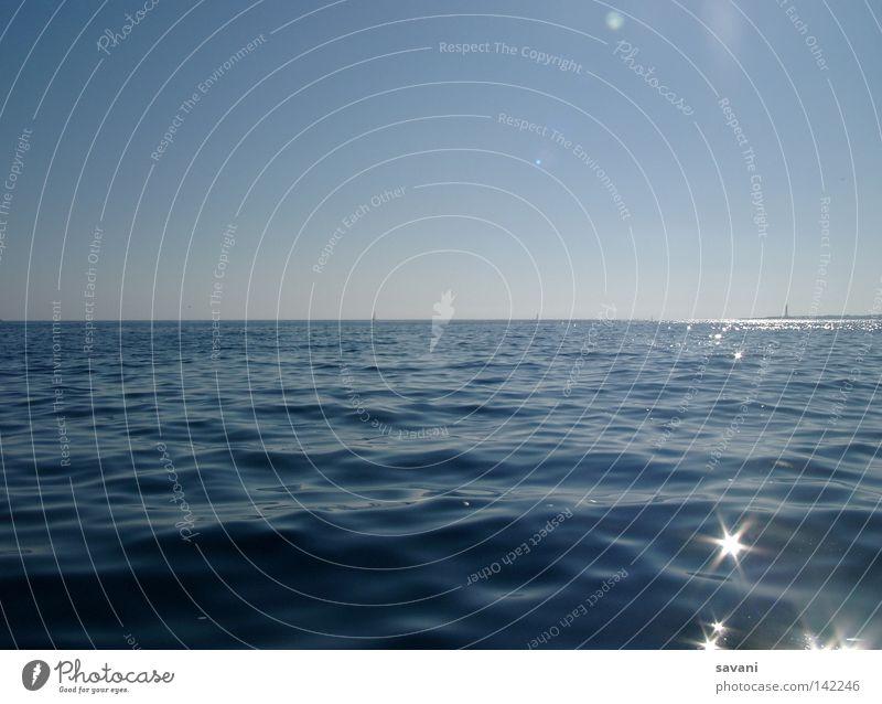 open water Erholung Ferien & Urlaub & Reisen Ferne Sommer Sonne Strand Meer Wellen Natur Wasser Himmel Horizont Küste Leuchtturm glänzend träumen frei kalt nass