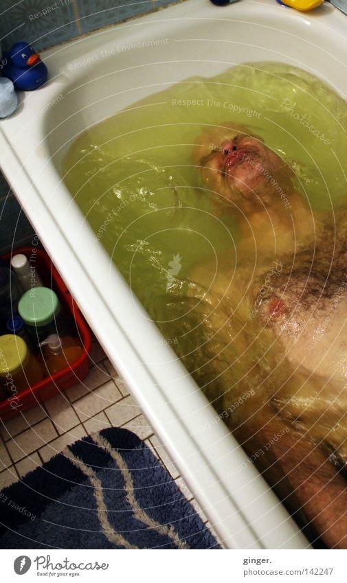 **°°Mal abtauchen°°** Mann Wasser grün weiß Erwachsene Gesicht gelb Haare & Frisuren Luft Schwimmen & Baden Körper nass Badewanne stoppen