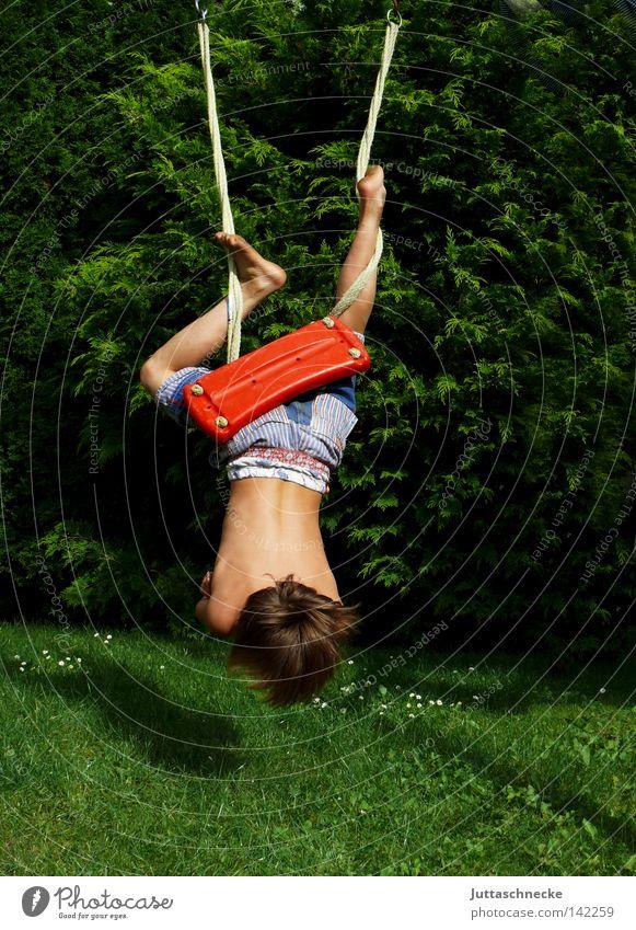 Wildschwein Kind Kindheit Junge Schaukel schaukeln verkehrt kopfvoran hängen toben Spielen Fledermäuse Sommer Garten Paradies Spielplatz wild Aktion Freude