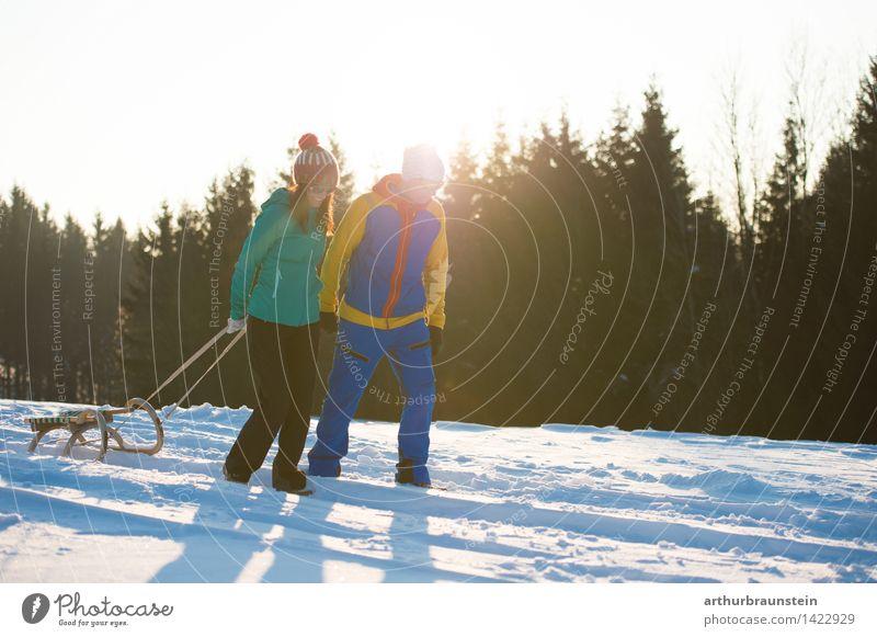 Schlittenfahren im Winter Mensch Natur Jugendliche Junge Frau Junger Mann Freude Wald kalt Erwachsene Leben Bewegung Schnee feminin Familie & Verwandtschaft