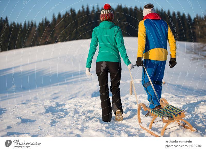 Junges Paar mit Schlitten Mensch Natur Jugendliche Junge Frau Junger Mann Winter Wald kalt Erwachsene Leben Bewegung Schnee feminin Gesundheit