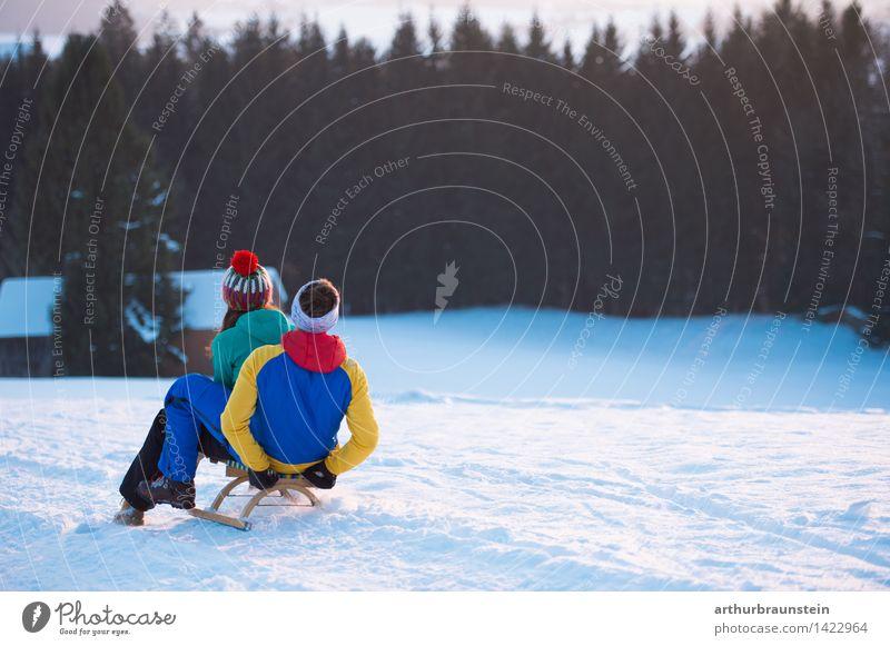 Schlittenfahren Mensch Natur Ferien & Urlaub & Reisen Jugendliche Junge Frau Junger Mann Landschaft Freude Winter kalt Erwachsene Leben Bewegung Schnee feminin