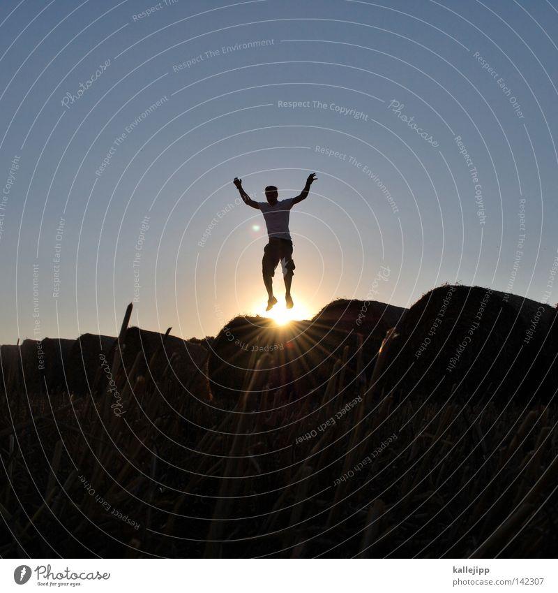 goldmedaillengewinner Mensch Mann Natur Himmel Sonne blau Sommer Freude ruhig Wolken gelb Ferne Farbe Wiese springen Gras