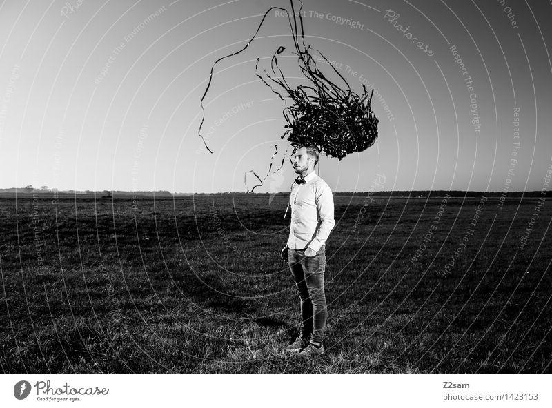 Zauberei? Lifestyle elegant Stil maskulin Junger Mann Jugendliche 18-30 Jahre Erwachsene Landschaft Horizont Herbst Wiese Mode Hemd Jeanshose Fliege Schwarm