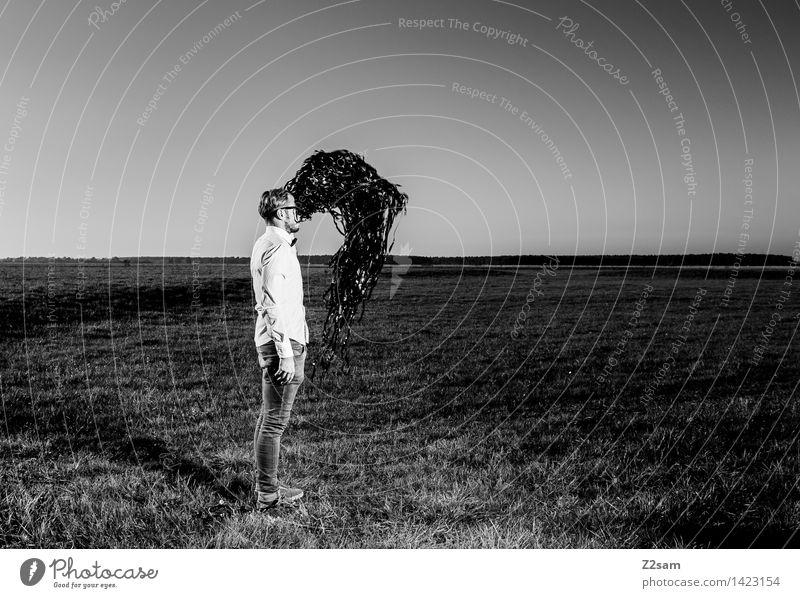 Matrix Technik & Technologie Internet maskulin Junger Mann Jugendliche 18-30 Jahre Erwachsene Natur Landschaft Herbst Wiese Hemd Jeanshose Schwarm dunkel