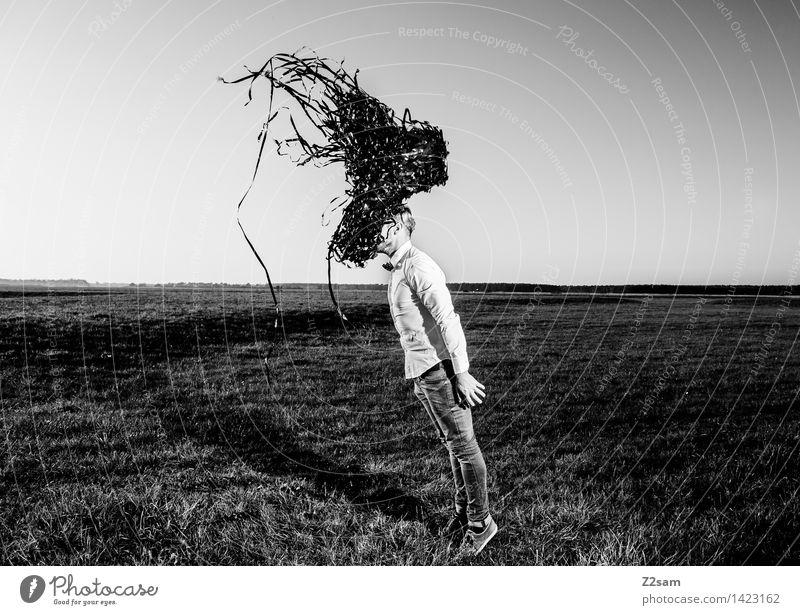 Der Schwarm Lifestyle elegant Stil Technik & Technologie maskulin Junger Mann Jugendliche 30-45 Jahre Erwachsene Natur Landschaft Wiese Mode Hemd Jeanshose