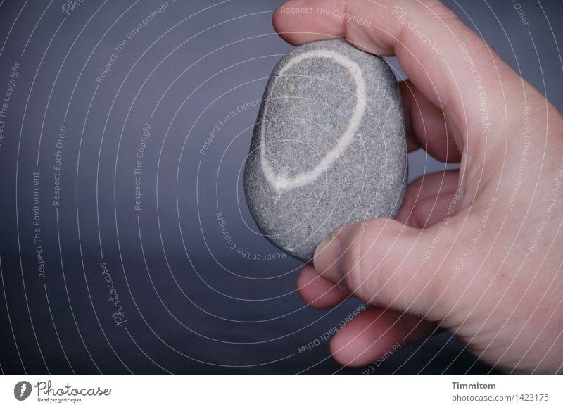 Ein Stein. Hand Finger Glücksbringer Linie einfach grau weiß festhalten zeigen Kieselsteine Farbfoto Innenaufnahme Nahaufnahme Textfreiraum links Tag Licht