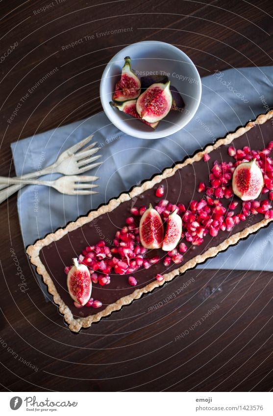 Schokotarte Frucht Kuchen Dessert Süßwaren Schokolade Ernährung Slowfood lecker süß braun Kalorienreich Sünde Granatapfel Feige Farbfoto Innenaufnahme