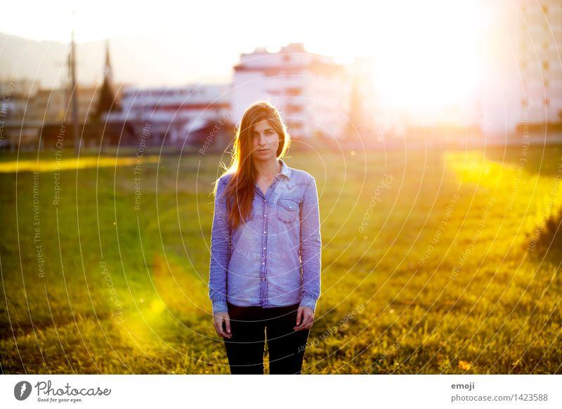 Herbstlicht feminin Junge Frau Jugendliche 1 Mensch 18-30 Jahre Erwachsene schön natürlich Farbfoto Außenaufnahme Tag Sonnenstrahlen Sonnenaufgang