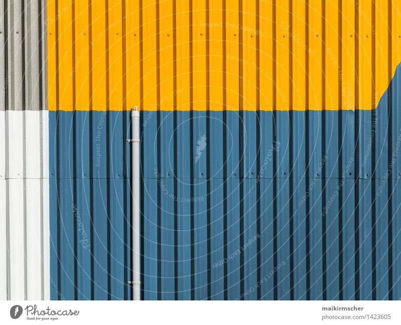 Das Rohr Stil Design High-Tech Kunst Künstler Kunstwerk Gemälde Industrieanlage Architektur Mauer Wand Fassade trendy blau gelb grau silber Farbe minimalistisch