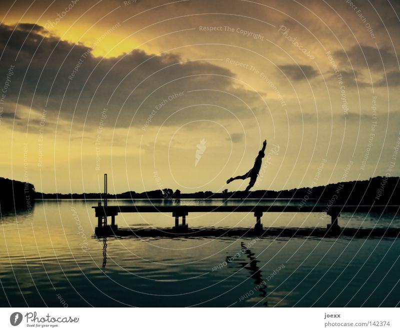 Falsche Richtung Abend Abenddämmerung Horizont hüpfen Küste laufen Laufsteg Lebensfreude Mann Mensch Romantik See Seeufer Sommer Sonne Sonnenuntergang