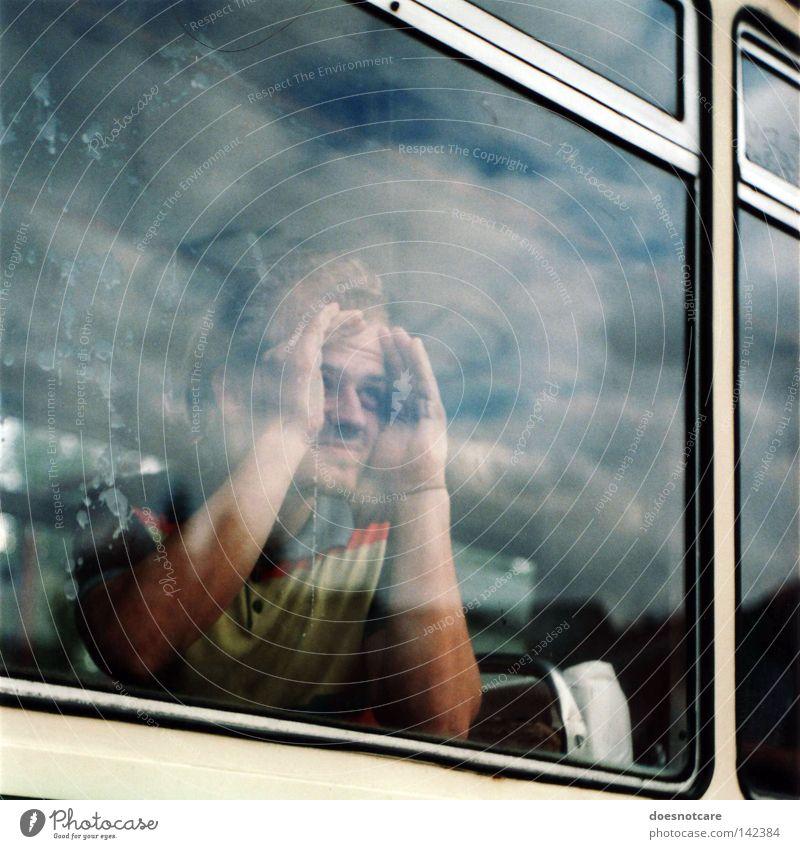 i had the strangest dream. Mann Erwachsene Wolken Unwetter Fenster Verkehrsmittel Straßenbahn Glas dreckig Sorge Suche analog verfallen Fensterscheibe Bus Bahn