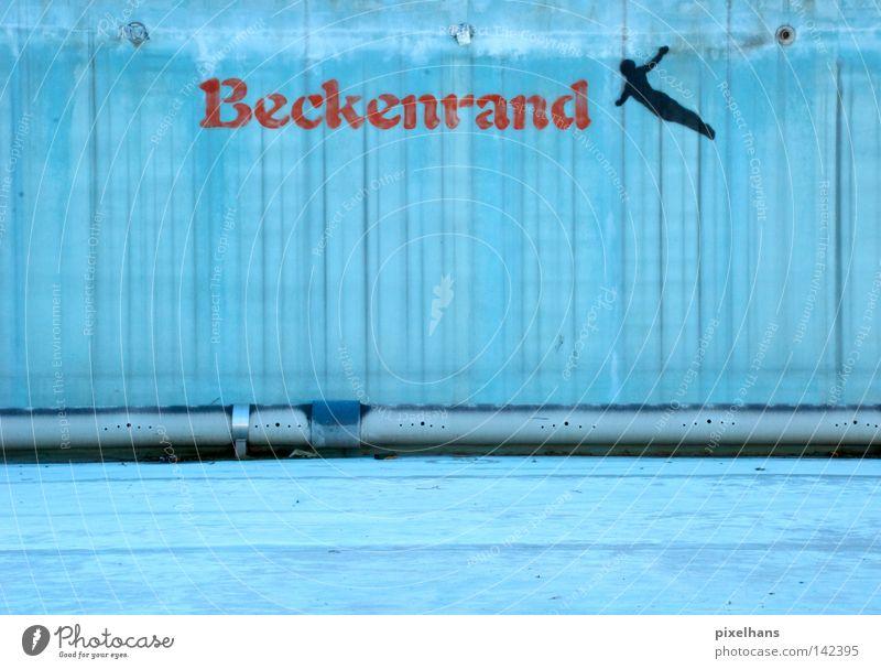 Beckenrand Sport Schwimmbad Wasser Metall Kunststoff Schriftzeichen alt nass trocken blau grau rot schwarz Einsamkeit Ferien & Urlaub & Reisen