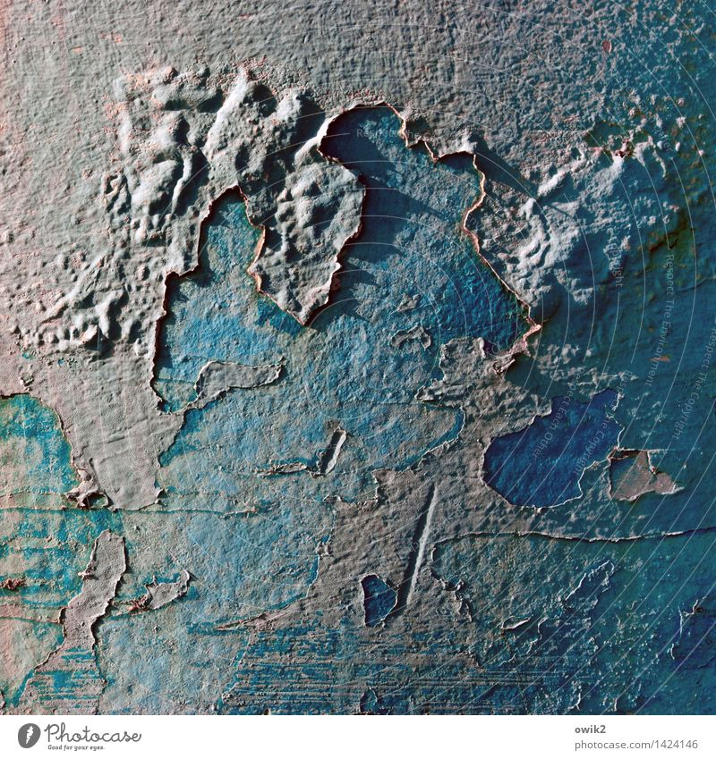 Ferne Planeten alt blau Farbe Farbstoff Linie Metall Vergänglichkeit verfallen Verfall Rost Riss bizarr Zerstörung Säule Oberfläche Kunstwerk