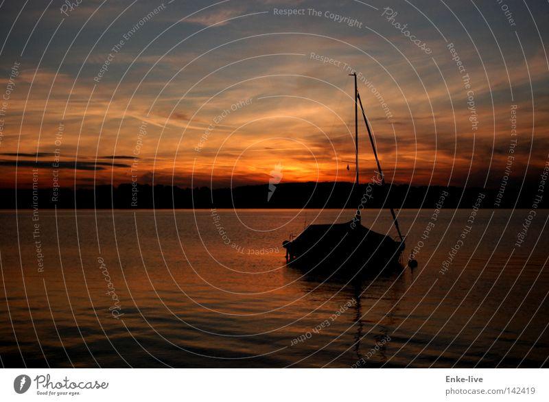 Sonnenuntergang Wasser schön Himmel Sonne rot Sommer ruhig Farbe Erholung träumen See Wasserfahrzeug Horizont Frieden Gelassenheit genießen