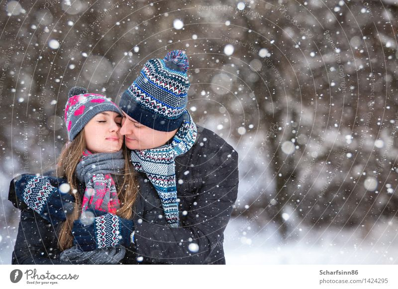 Liebespaar im Winter Park. Mensch Frau Jugendliche Mann blau Weihnachten & Advent rot 18-30 Jahre Wald Berge u. Gebirge Erwachsene Schnee feminin Lifestyle
