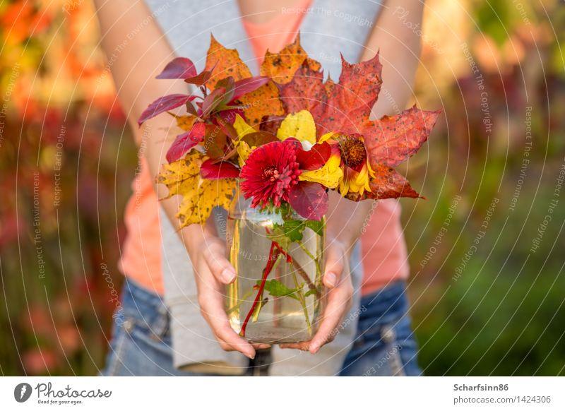 Mädchen mit Herbstblumenstrauß. Lifestyle Erholung Freizeit & Hobby Tourismus Freiheit Garten feminin Körper Hand Blühend entdecken festhalten laufen Glück hell