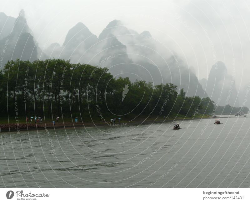 China Guilin Li River Natur Wasser Berge u. Gebirge Landschaft Nebel Fluss Asien China Bach Landschaftsformen Lijang Fluss Guilin