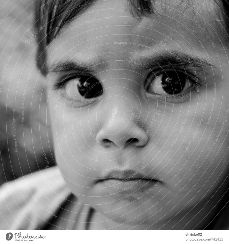 Sahin Baby Kleinkind Junge Schwarzweißfoto süß klein Auge kulleräugig Kinderaugen Knopfauge ernst skeptisch Konzentration Nachbar frech Denken Gedanke Neugier
