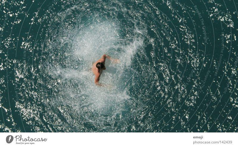 DRIN grün zyan Meer See Vogelperspektive klein Mensch Mann Wellen Freude Sommer Wasser lake sea man Schwimmen & Baden water Ferien & Urlaub & Reisen holiday