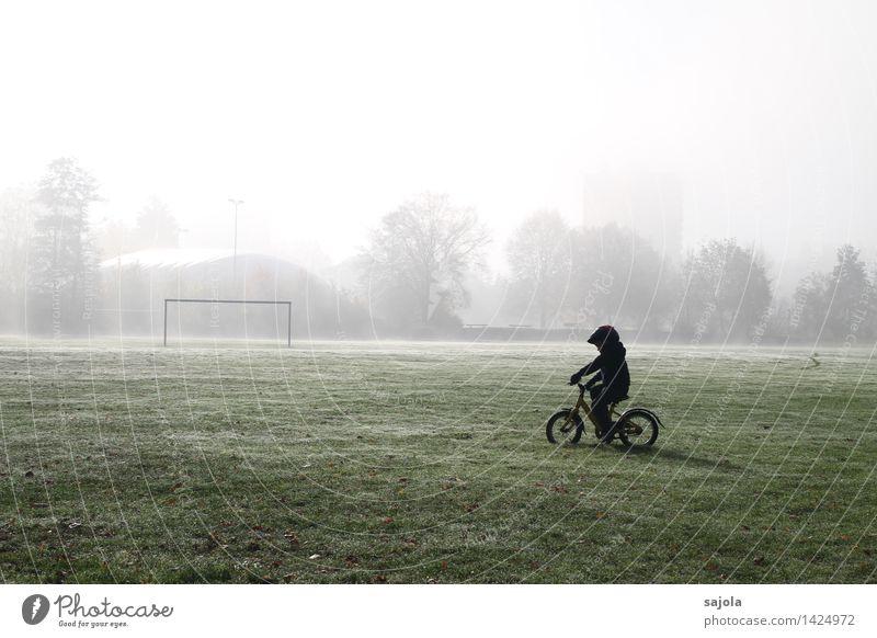 kleiner radler Mensch Kind Natur Landschaft Umwelt Herbst Junge Sport Spielen Park maskulin Freizeit & Hobby Nebel Fahrrad Kindheit ästhetisch