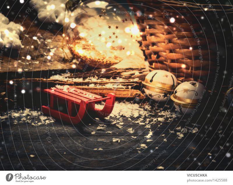 Schlitten mit Weihnachtsdekoration Weihnachten & Advent Winter Schnee Stil Feste & Feiern Stimmung Schneefall Design Dekoration & Verzierung retro Postkarte