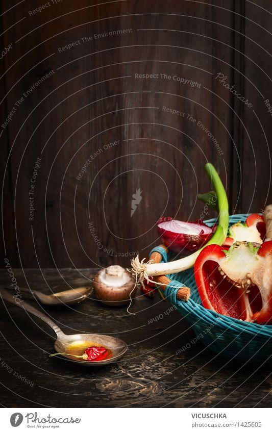 Gesundes Kochen mit frischen Bio- Gemüse und Öl Natur Gesunde Ernährung Haus gelb Leben Stil Hintergrundbild Lifestyle Lebensmittel Design Tisch