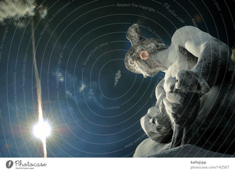 gute reise Götter Sonne Stern Ikarus Gegenlicht Statue Marmor Stein Denkmal antik Antike Symbole & Metaphern blau weiß Kunst Steinskulptur Froschperspektive
