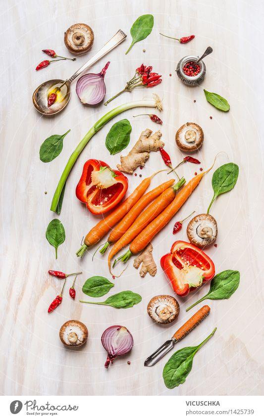 Buntes Gemüse Auswahl für gesundes Kochen Lebensmittel Salat Salatbeilage Kräuter & Gewürze Ernährung Mittagessen Abendessen Büffet Brunch Festessen Bioprodukte