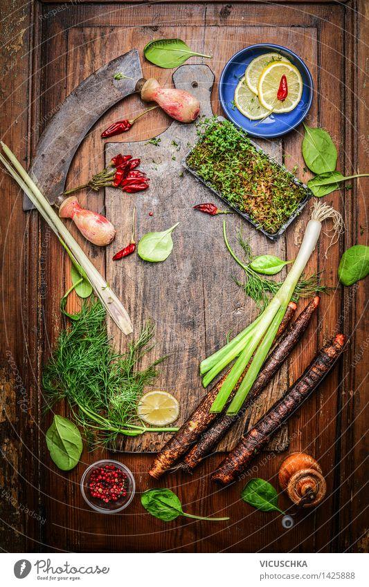 Köstliches Gemüse und Gewürze für gesundes Kochen Gesunde Ernährung Leben Stil Lebensmittel Design Tisch retro Kräuter & Gewürze Küche Bioprodukte