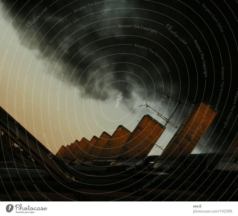 landluft Dach Backstein Fenster Dachfenster Umwelt beschmutzen Umweltverschmutzung Smog schwarz Wolken Rauch Schatten blenden Blendeneffekt verdunkeln Baum