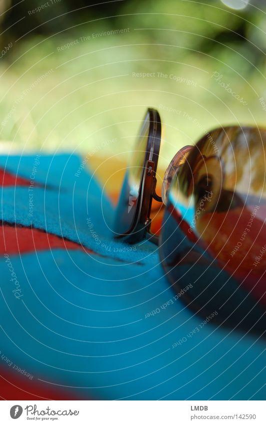lunettes de soleil grün blau rot Sommer Ferien & Urlaub & Reisen gelb dunkel Erholung Wiese See braun Herz Schutz Streifen Brille Sonnenbad