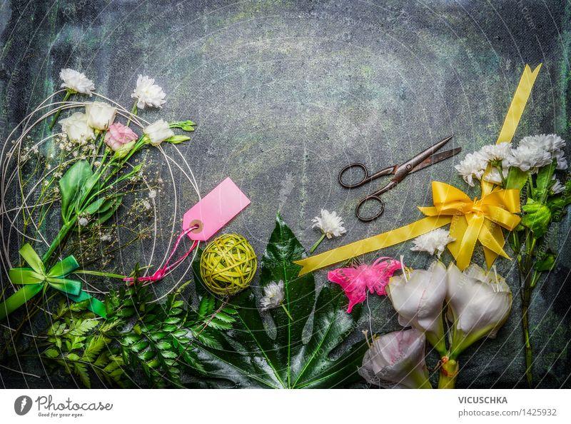 Blumen, Schere und Deko für Blumenstrauß Natur Pflanze Blume Blatt Blüte Innenarchitektur Stil Hintergrundbild Feste & Feiern rosa Design Dekoration & Verzierung Geburtstag Tisch Schnur Ostern