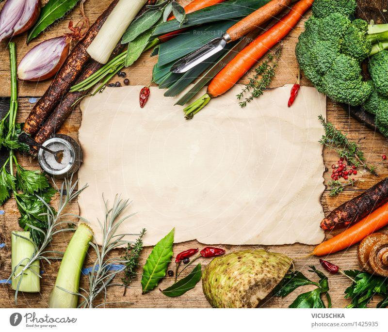 Gemüse Zutaten für Suppe oder Brühe Natur Gesunde Ernährung Leben Stil Hintergrundbild Lebensmittel Design leer Tisch Kochen & Garen & Backen Papier