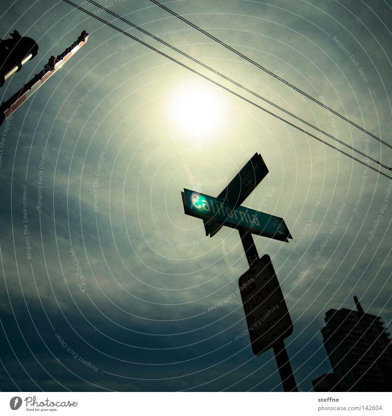CALIFORNIA LOVE Himmel Sonne Straße Schilder & Markierungen USA Kalifornien Straßennamenschild Schranke San Francisco Los Angeles San Diego County