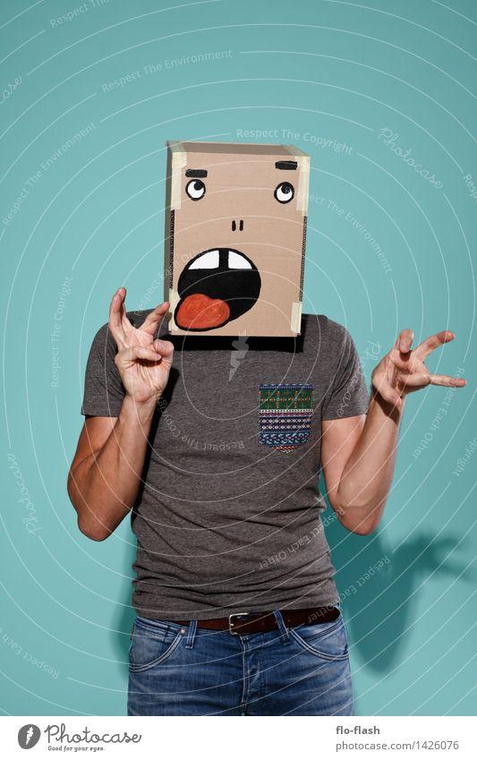 KARTOON · JEAN LÜCK Mensch Jugendliche Mann Junger Mann 18-30 Jahre Erwachsene sprechen lustig Kunst Mode maskulin Freizeit & Hobby lernen beobachten Papier T-Shirt