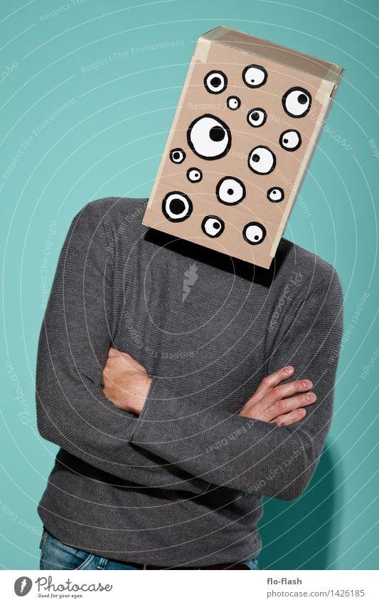 KARTOON • EUGEN jr. III Mensch Jugendliche Mann Junger Mann 18-30 Jahre Erwachsene Stil Mode maskulin stehen Sicherheit Student entdecken Maske türkis gruselig