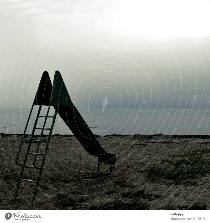in see stechen Himmel Wasser grün Meer Strand Freude Einsamkeit gelb Herbst Spielen Freiheit Sand Küste Horizont Erde Raum