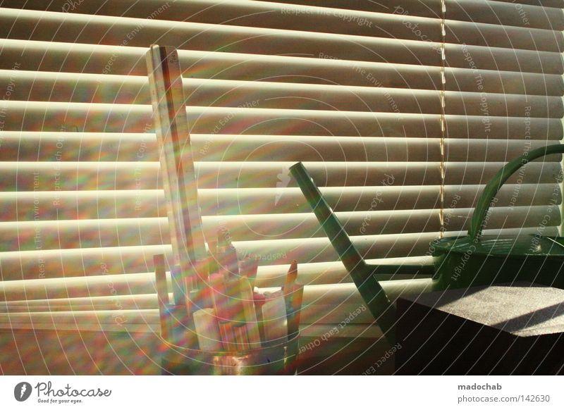 my desktop Schatten Linie graphisch parallel Wand Sommer trist Jalousie Fenster limitiert schick Licht Sonnenstrahlen strahlend mehrfarbig Schreibstift Stimmung