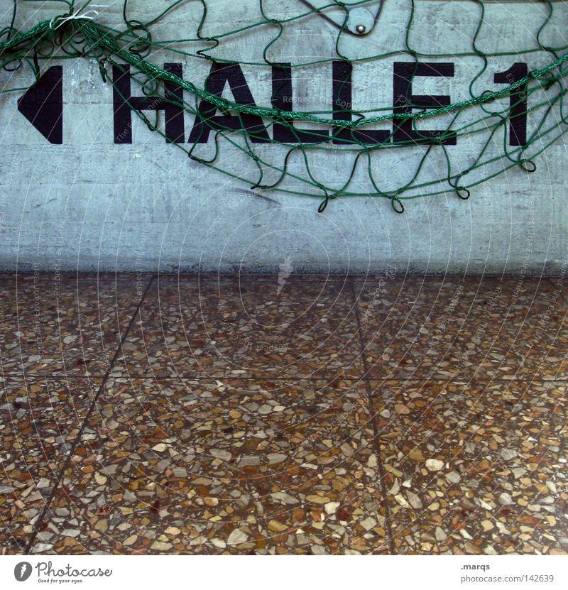 This Way blau grün 1 Wand Spielen Freizeit & Hobby Schriftzeichen Boden Hinweisschild Ziffern & Zahlen Netz Pfeil Lagerhalle Wort Sportveranstaltung Olympiade