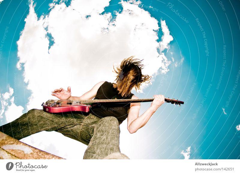 Open Hair Rockmusik rocken Kopfschütteln Headbangen Elektrogitarre Gitarre Himmel Wolken Open Air Musik Musiker Potsdam Elektrobass langhaarig wild roh Punkrock