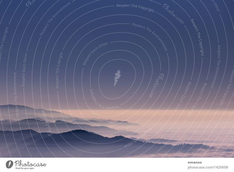 Nebelmeerküste Himmel Natur Ferien & Urlaub & Reisen blau Landschaft Wolken Ferne Wald Berge u. Gebirge Küste Freiheit Horizont Wetter Luft Tourismus