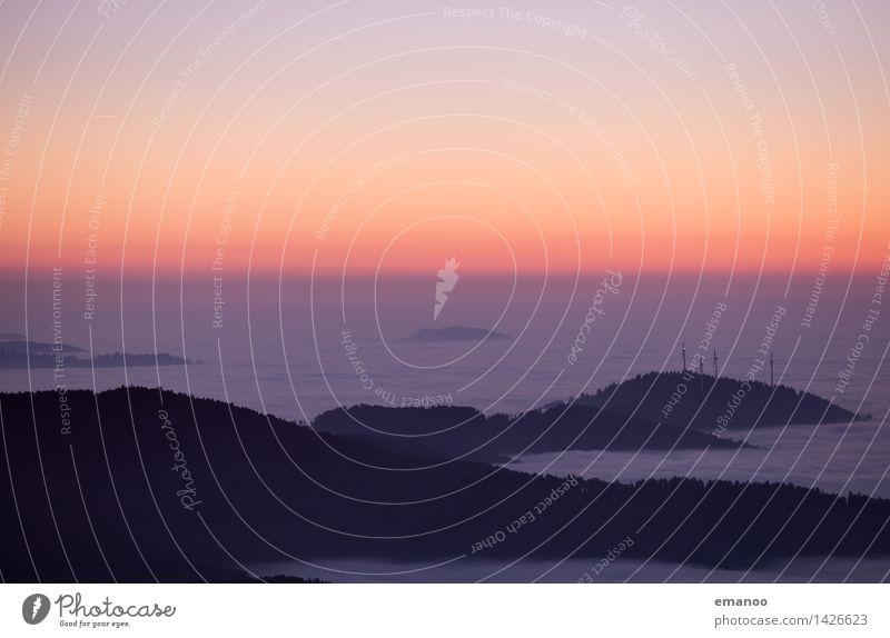 Abends über dem Nebelmeer Himmel Natur Ferien & Urlaub & Reisen Landschaft Wolken dunkel Wald Berge u. Gebirge Herbst Freiheit Tourismus Horizont Wetter Luft
