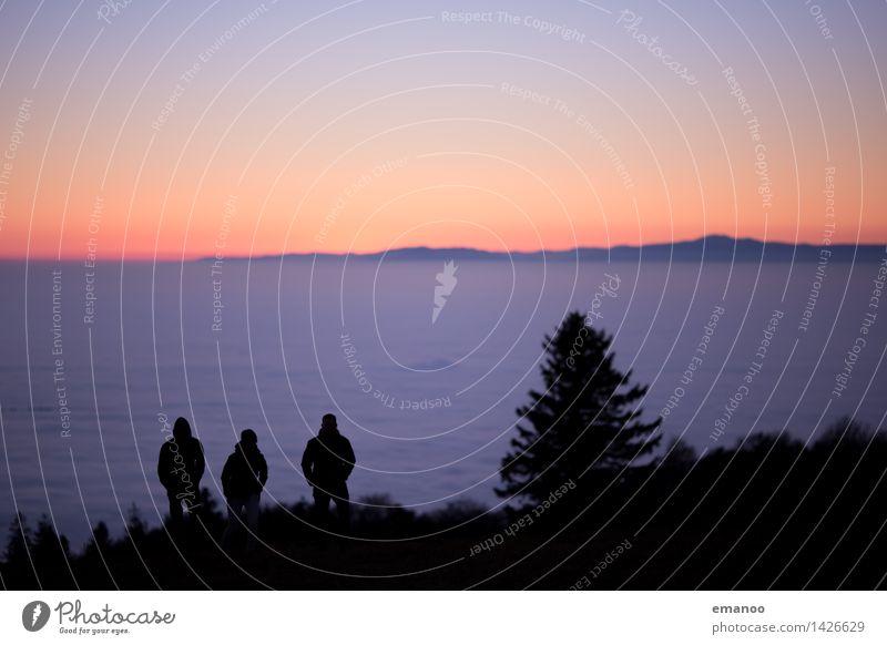 Die 3 überm Nebelmeer Lifestyle Freude Ferien & Urlaub & Reisen Tourismus Ausflug Abenteuer Ferne Freiheit Berge u. Gebirge wandern Mensch Junger Mann