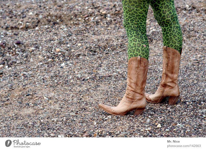 Gestiefelter kater Stiefel Cowboy braun grün giftgrün Muster Strumpfhose Bekleidung schick Stil flippig verrückt Medienrummel mehrfarbig grau Stein Kieselsteine