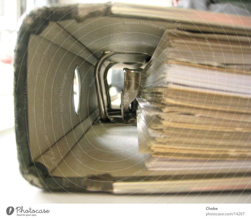 Ordner Klammer Blatt Papier Aktenordner Detailaufnahme
